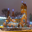 Ancient Christian church at night in Minsk, Belarus — Stock Photo #4963763