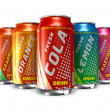 Set of refreshing soda drinks in metal cans — Stock Photo #5285320