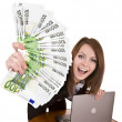 Businesswomen with money and laptop. — Stock Photo #1336261