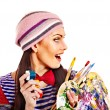 Artist woman with paint palette. — Stock Photo #34547495