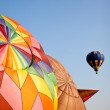 Hot air balloon in the air above two — Stock Photo #1022344