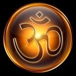 Om Symbol icon golden, isolated on black background. — Stock Photo #5939237