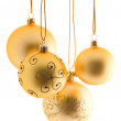 Gold christmas balls — Stockfoto #3449196