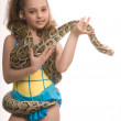 Young girl with pet snake — Stock Photo #1135305