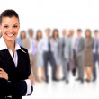 Portrait of successful businesswoman and business team — Stock Photo #5574785