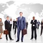 uomo d'affari e la sua squadra isolato su uno sfondo bianco — Foto Stock #5706358