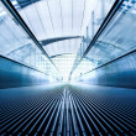 Moving escalator in office hall — Fotografia Stock  #1287063