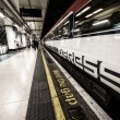 LONDON - SEP 30, 2013: Gatwick Express train with mind the gap s — Stock Photo #49377453
