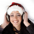 Happy female listening music — Stock Photo #1666124