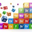 Chemistry concept. Wall from cubes wiyh periodic table of elemen — Stock Photo #26818909