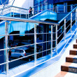 Marble staircase with a steel handrail — Stock Photo #1431083