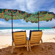 On the sand tropical beach. Andaman sea. Phuket island. Kingdom — Stock Photo #6384109