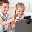 Children communicate with online — Stock Photo #8577751