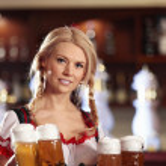 Waitress with beer — Stockfoto #4248403