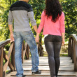 Beautiful scene of two teen lovers in nature, young couple together walking — Stock Photo #6151264