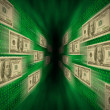 100 bills flying through a green vortex, with walls of binary c — Stock Photo #5076179