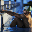Young swimmmer on swimming start — Stock Photo #1675838