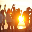Group of young enjoy summer party at the beach — Stock Photo #5870052