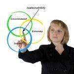 Presentation of diagram of sustainability — Stock Photo #10387948