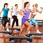 Step aerobik s činkami — Stock fotografie #9290928
