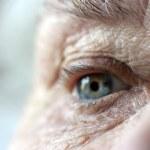 Close up on elderly ladies eye and wrink — Stock Photo #2811064