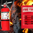 Horn alarm light and fire extinguisher — Stock Photo #3787504