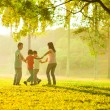 Happy asian family playing on the field — Stock Photo #18713741