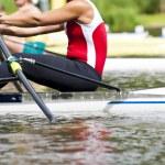 Single scull women's rowing start — Stock Photo #6651940