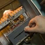 Gas boiler. Examination of equipment — Stock Photo #2661706