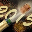 Popping Champagne and firework for new year 2015 — Stock Photo #50197915
