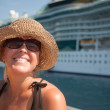 Vacationing Woman Near Cruise Ship — Foto de Stock   #2345037