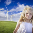 Beautiful Young Girl and Wind Turbine Field — Stock Photo #5270998