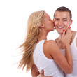 Woman kissing man — Stock Photo #3363735