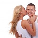 kobieta mężczyzna całuje — Zdjęcie stockowe #3363735