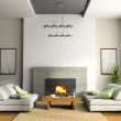 Home interior with fireplace and sofas — Stock Photo #2766158