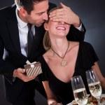 Romantic couple at the restaurant — Stock Photo #17392993
