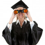 Student looking through binoculars — Stock Photo #8908659