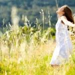 Sunset dancing meadow girl — Stock Photo #11490026