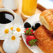Breakfast served on a tray — Stock Photo #4642371