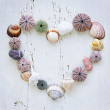 Heart of seashells and rocks — Stock Photo #6696639