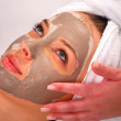 Spa clay mask on a woman's face — Stock Photo #7635834