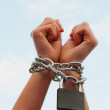 Hands tied up with chains — Stock Photo #8686528