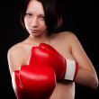 Beautiful nude girl with boxing gloves — Stock Photo #35607759