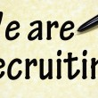 We are recruiting title written with pen on paper — Stock Photo #23552747