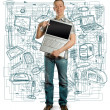 Man with open laptop in his hands — Stock Photo #6321050