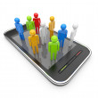 Social network on mobile smartphone 3D. Communication concept. I — Stock Photo #8078341