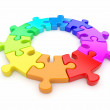 Colorful puzzle ring 3D. Team concept. Isolated on white backgro — Stock Photo #8528833