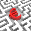 Red euro sign into the maze. — Stock Photo #9248058