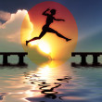 Woman jump through the gap — Stock Photo #7364043