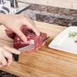 Cutting Thin Slices of Lean Red Lamb Meat — Stock Photo #17864327